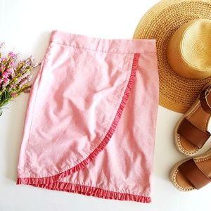 J.Crew   Pink Chambray Ruffled Trim Skirt 2